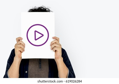Play button icon graphic with people studio shoot