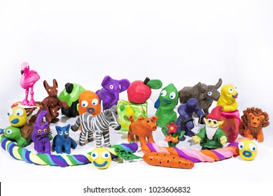 Play Clay World. Figures made from plasticine. Isolated on white background.