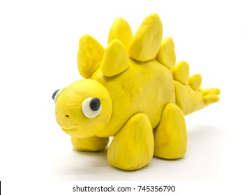 Play dough Stegosaurus on white background