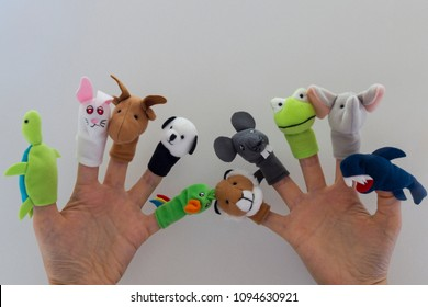play with finger puppet in the nursery for children's activities concept.happy teachers day