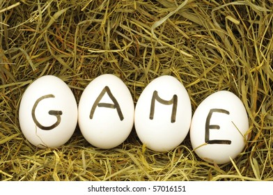 play a game concept with eggs in hey or straw