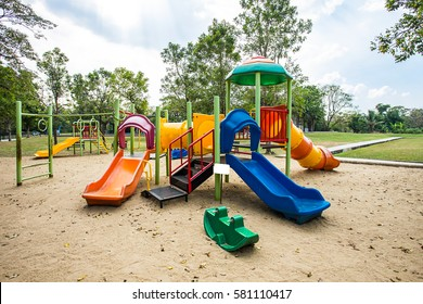 play ground colorful big plastic toy set for children school or garden park on day noon light in city park.