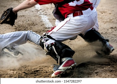 Play at home plate in youth baseball
