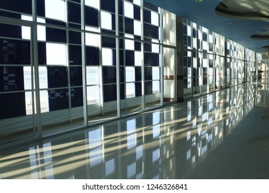 the play of light from the glass wall and its reflections in the main building at the port of Tanjung Perak, Surabaya, September 13, 2018