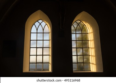 Play Of Light In The Sunrise. Light Of Windows From Inside On An Old Danish