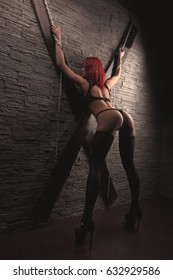 play in love games. BDSM. woman in chains
