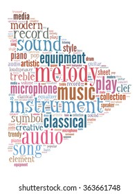 Play music, word cloud concept on white background.