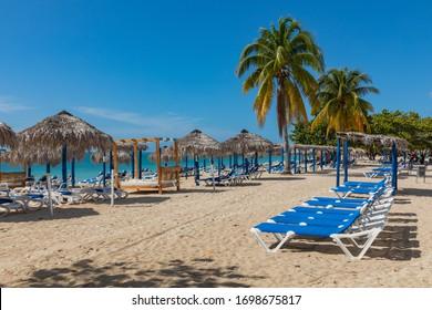 PLAYA ANCON, CUBA - DECEMBER 17, 2019:  View of a beach Playa Ancon near Trinidad, Cuba.