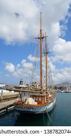 PLAYA BLANCA, LANZAROTE, SPAIN - MARCH 27, 2017: Large Yacht moored  at Marina Rubicon port at Playa Blanca in Canary Islands