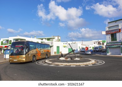 PLAYA BLANCA, SPAIN - APRIL 3:  morning view to the new roundabout with ancor on April 03,2012 in Playa Blanca, Spain. The ancor was topped to the roundabout in 2008 to symbolize the fishervillage.