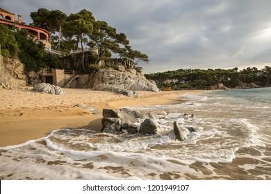 Playa Cala Gogo, Costa Brava, Catalonia, Spain - JULY 23, 2015: rocky coast line in mediterranean sea  near Platja d Aro with beautiful view to  sea shore.