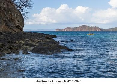 Playa Calzon de Pobre, Costa Rica - January 11: Tourists enjoying a kayaking tour on the blue waters of Costa Rica. January 11 2018, Playa Calzon de Pobre Costa Rica.