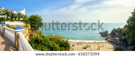 Playa Carabeillo beach in Nerja. Costa del Sol. Malaga province, Andalusia, Spain
