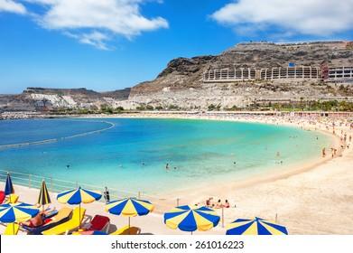 Playa de Amadores beach near Puerto Rico town. Gran Canaria, Canary Islands. Spain