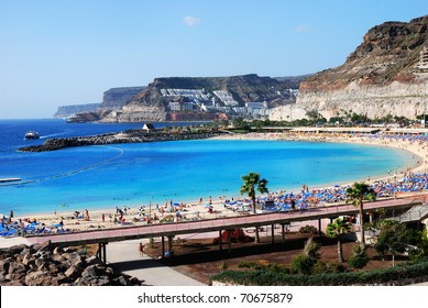Playa de Amadores, Puerto Rico, Gran Canaria. Beautiful blue flag beach on the south-west coast of Gran Canaria between Puerto Rico and Puerto Mogan
