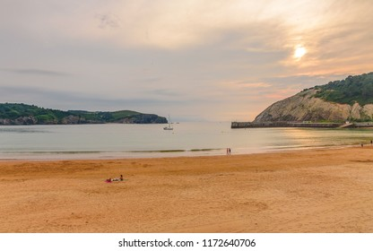 Playa De Gorliz at sunset, Spain, Basque Country, Bilbao