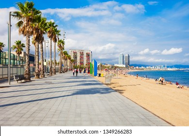 Playa de la Barceloneta city beach in the centre of Barcelona city, Catalonia region of Spain
