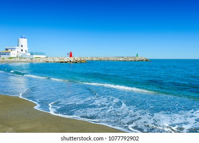 Playa de la Duquesa or Playa del Castillo, Manilva, Costa del Sol Occidental, Malaga, Andalusia, Spain, Iberian Peninsula