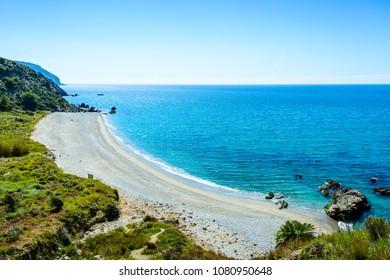 Playa de las Alberquillas, Paraje Natural Acantilado de Maro-Cerro Gordo, Maro, Nerja, Axarquia Costa del Sol, Malaga, Andalusia, Spain, Iberian Peninsula