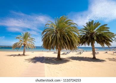 Playa de Las Teresitas, a famous beach near Santa Cruz de Tenerife with scenic San Andres village