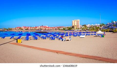 Playa de Las Vistas, Tenerife, Spain: Beautiful beach in Los Cristianos, Canary Island, Europe