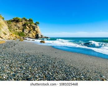 Playa de Maro, Maro, Nerja, Axarquia Costa del Sol, Malaga, Andalusia, Spain, Iberian Peninsula