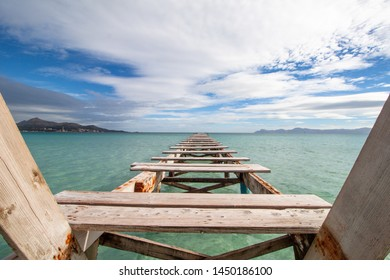 Playa de Muro on Mallorca is a beautiful beach with a long pier