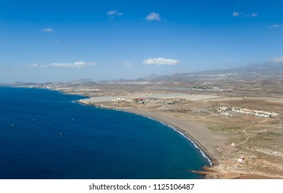 Playa de Tejita sand beach view from The Red Mountain. Canary islands, Spain.
