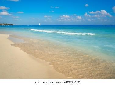 Playa del Carmen beach in Riviera Maya Caribbean at Mayan Mexico