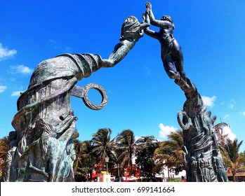 PLAYA DEL CARMEN, MEXICO - APRIL 12, 2017: Close-up of Portal Maya, iconic sculpture landmark of Playa del Carmen in Mexico