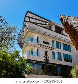 Playa del Carmen, Mexico - Feb. 26, 2019: Architecture, modern business building, Playa del Carmen, Mexico.