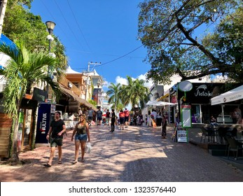 Playa del Carmen, Mexico - February 13 2019:center of the city of Playa del Carmen in Mexico, the Caribbean resort of the Mayan Riviera