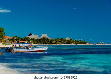 Playa del Carmen, Mexico - February 06 2019: sunny and white beaches of the Mexican coast in winter in the Cancun area