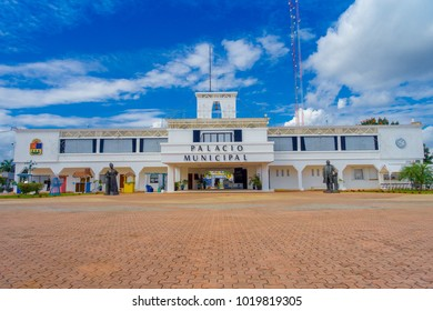 PLAYA DEL CARMEN, MEXICO JANUARY 01, 2018: Entrance to Municipal Palace in Playa del Carmen, Riviera Maya, Mexico in a beautiful blue sky