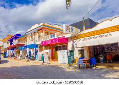 PLAYA DEL CARMEN, MEXICO - JANUARY 10, 2017: Outdoor view of clothes store in the city streets of Playa del Carmen. Approximately 2 million tourists per year visit Playa del Carmen and its