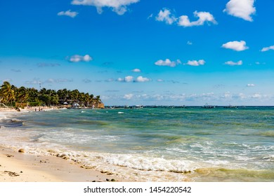 Playa del Carmen, Mexico - January 7 2016 - The beautiful beach of Playa del Carmen in Mexico. The city boasts a wide array of tourist activities due to its geographical location in the Riviera Maya.