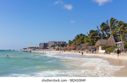Playa del Carmen, Mexico - January 7 2015 - The beautiful beach of Playa del Carmen in Mexico. The city boasts a wide array of tourist activities due to its geographical location in the Riviera Maya.