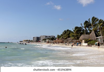 Playa del Carmen, Mexico - January 7 2016 - The beautiful beach. The city boasts a wide array of tourist activities due to its geographical location in the Riviera Maya.