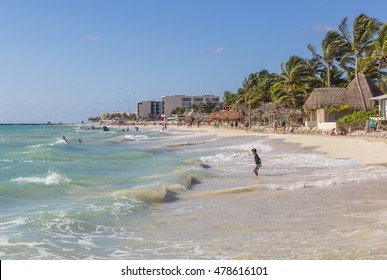 Playa del Carmen, Mexico - January 7 2016 - The beach. The city boasts a wide array of tourist activities due to its geographical location in the Riviera Maya.