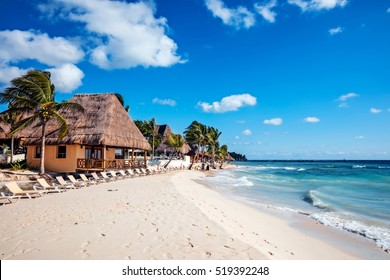 Playa del Carmen, Mexico - January 7 2016 - The beach of Playa del Carmen in Mexico. The city boasts a wide array of tourist activities due to its geographical location in the Riviera Maya.