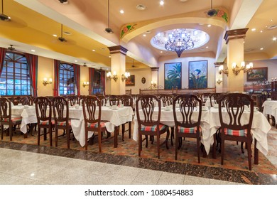 Playa Del Carmen, Mexico - July 15, 2011: Restaurant interior of RIU Yucatan Hotel in Playa del Carmen, Mexico. RIU Hotels & Resorts has more than 100 hotels in 19 countries.