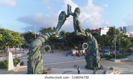 PLAYA DEL CARMEN, Mexico, July 2018: PORTAL MAYA at central beaches of the town