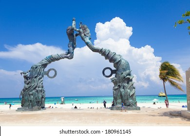 PLAYA DEL CARMEN, MEXICO - JUNE 28 - Portal Maya monument as a window to the Caribbean sea on June 28, 2013. The Portal Maya is a work of art depicting the history, culture and origins of this city