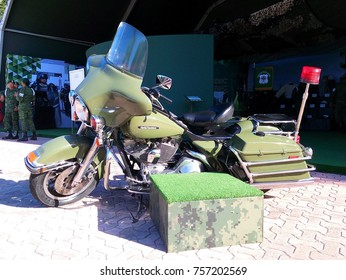 PLAYA DEL CARMEN, MEXICO – NOVEMBER 2017: Military motorcycle Harley Davidson at military parade / celebration of Political Constitution (Constitucion Politica) in Playa del Carmen, Mexico