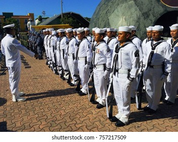PLAYA DEL CARMEN, MEXICO – NOVEMBER 2017: Lines of Mexican navy soldiers / marines at military parade / celebration of Political Constitution (Constitucion Politica) in Playa del Carmen, Mexico