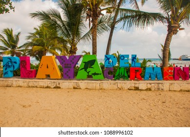 Playa del Carmen, Mexico: Open view of the huge words of Playa by the beach in Playa del Carmen, Riviera Maya, Mexico
