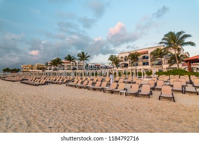 Playa del Carmen, Mexico - September 16 2017: Beach in Playa del Carmen