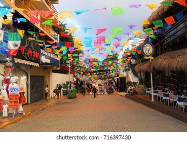 PLAYA DEL CARMEN, MEXICO – SEPTEMBER 15, 2017: Celebrations of Mexican Independence Day / Cry of Dolores on Fifth Avenue in center of Playa del Carmen, Riviera Maya, Mexico