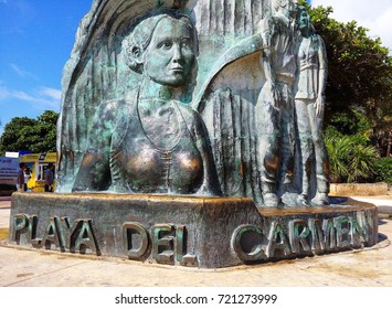 PLAYA DEL CARMEN, MEXICO – SEPTEMBER 22, 2017: Detail of sculpture of Portal Maya, iconic sculpture landmark of Playa del Carmen as seen from beach, Riviera Maya, Mexico