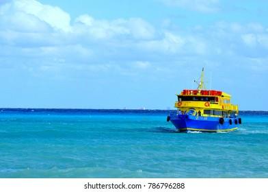 Playa Del Carmen, Mexico - September 23, 2015 - Main ferry connecting Playa Del Carmen and Cozumel